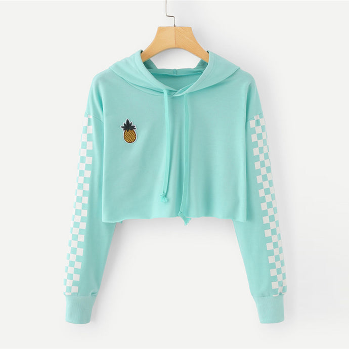 Casual Sporty Back to School Outfit Ideas for Teens 2018 - Pineapple Embroidery Crop Top Hoodie Sweatshirt Sweater in Mint - Ideas casuales de regreso a la escuela de verano -  www.GlamantiBeauty.com