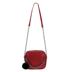 Juliette Classy Crossbody Zip Chain Shoulder Purse Bag with Fur Pom in Red - www.GlamantiBeauty.com