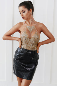 New Years Eve Party Outfit Ideas for Women - Hot Clubbing Baddie Mesh Gold Floral Sequin Crop Top with Leather Skirt - ideas de trajes de fiesta para las mujeres - www.GlamantiBeauty.com - #outfits