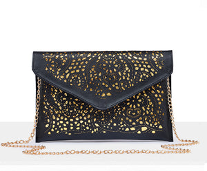 Persella Cut Out Gold Chain Crossbody Flap Envelope Clutch Wallet Shoulder Purse Bag for Fancy Dinner Cocktail Parties Prom Graduation - www.GlamantiBeauty.com