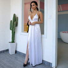 Gorgeous Satin Long Prom Dresses - Floor Length V Neck Silk Backless Strappy Gown with Slit for Graduation, Homecoming, Evening Party 2018 in Blue, White, Red - Precioso satén largo vestidos de baile - www.GlamantiBeauty.com #promdresses