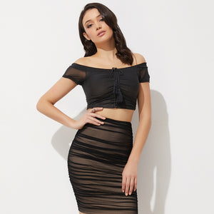 Trendy Chic Summer Night Outfit Ideas for Women 2018 - Hot Off the Shoulder Mesh Crop Top with Black High Waisted Skirt - vestidos de verano ideas de vestimenta para mujer -www.GlamantiBeauty.com #dresses #outfits