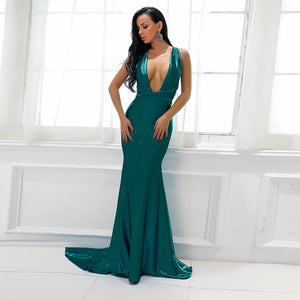 Beautiful Turquoise Blue Silk Prom Dresses - Gorgeous Sparkly Satin Graduation Homecoming Deep V Neck Plunge Backless Mermaid Gown Floor Length Dress - Hermosos vestidos de baile de seda roja - www.GlamantiBeauty.com #promdresses