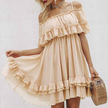 Juberry Boho Romantic Vintage Ruffle Off the Shoulder Baby Doll Chiffon Mini Dress