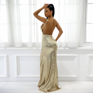 Gorgeous Backless Prom Dresses - Sparkly Sequin Gold Tight Fitted Slit Floor Length Mermaid Maxi Gown Dress 2018 to Wear to a Wedding as a Guest Cocktail Party Graduation Evening - www.GlamantiBeauty.com #promdresses
