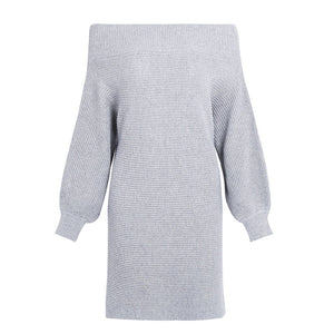 Oversized Off the Shoulder Grey Sweater Dress - www.GlamantiBeauty.com