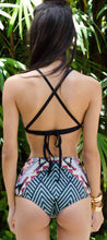 Cute High Waisted Bikini Floral Print Black Halter Neck Strappy Criss Cross Lace Up Two Piece Swimsuit Bathing Suit - www.GlamantiBeauty.com #swimwear