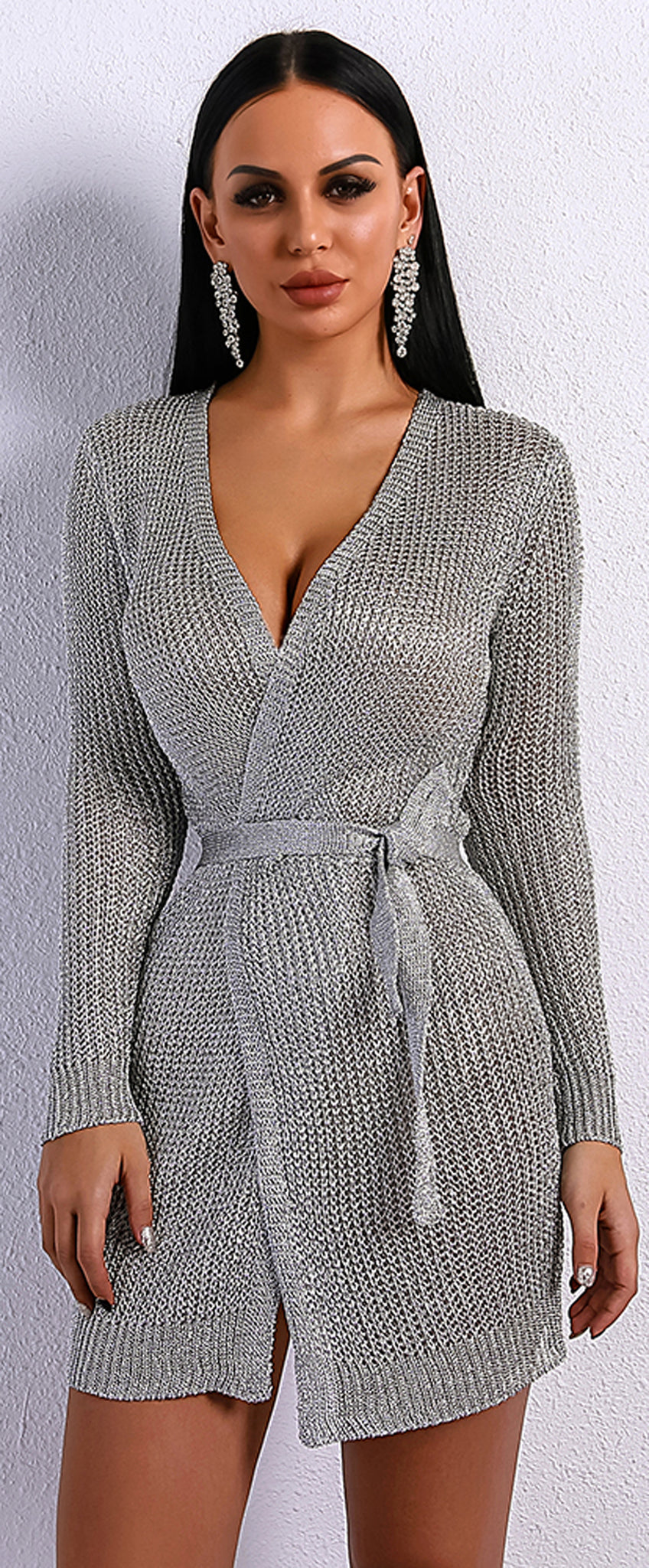 Summer Outfits Baddie Dresses: Paulina Knitted Metallic Tie Up Long Cardigan Sweater