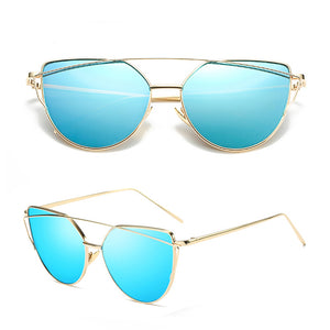 Cheap Designer Cateye Mirrored Lenses Oversized Sunglasses Reflective Mirror - 2018 Classic Summer Trend Trending www.GlamantiBeauty.com - Blue & Gold