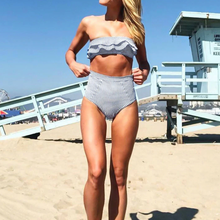 Cute Modest Striped Ruffle High Waisted Bandeau Two Piece Bikini Swimwear for Teens 2019 - www.GlamantiBeauty.com