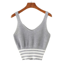 Cute Spring Summer Outfit Ideas for Women 2018 - Casual Grey Knitted Tank Crop Top for Teen Girls for School - ideas de top crop crop spring para mujer - www.GlamantiBeauty.com #outfit