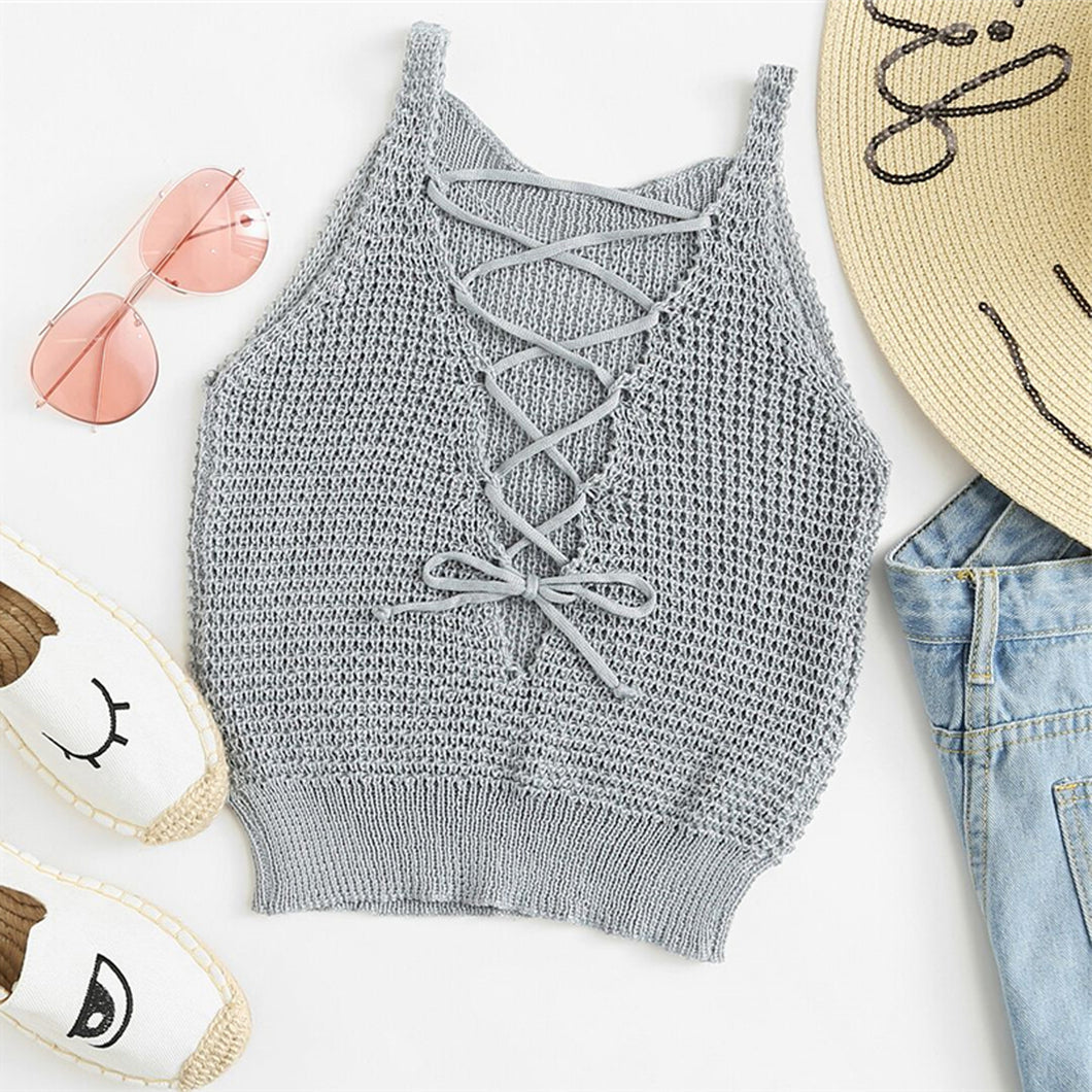 Cute Crop Top Outfits for Teens with Shorts for School - Modest Lace Up Knitted Tank Top - www.GlamantiBeauty.com