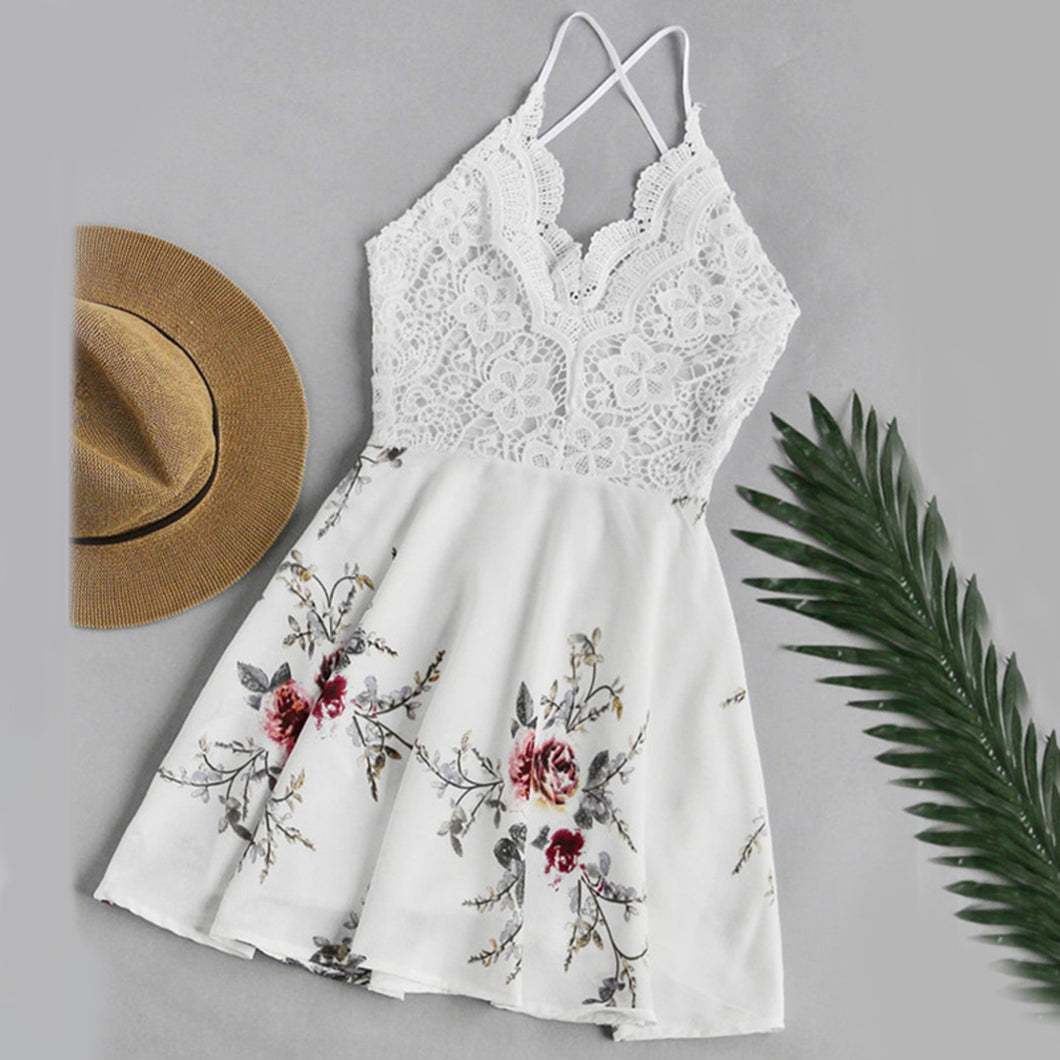 Summer Romper Outfit Ideas for Teens for Women 2018 - Spring Dressy Dress Vintage Chiffon Floral Lace Romper in White - Ideas de trajes de verano mameluco - www.GlamantiBeauty.com #summerstyle #outfits