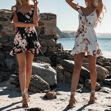 Cute Summer Spring Outfit Ideas for Teen Girls for Women - Vintage Floral Flower Chiffon Mini Off the Shoulder Dress - www.GlamantiBeauty.com