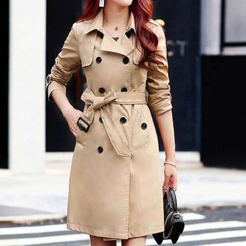 Alannah Classy High Fashion Off the Shoulder Khaki Trench Coat Jacket Dress