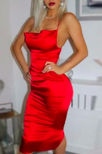 Fancy Classy Red Satin Midi Dress - Evening Party Going Out Outfit Ideas for Women - www.GlamantiBeauty.com