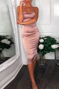 Fancy Classy Pink Satin Midi Dress - Evening Party Going Out Outfit Ideas for Women - www.GlamantiBeauty.com