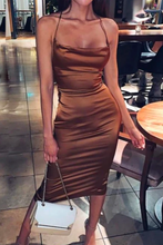 Fancy Classy Brown Satin Midi Dress - Evening Party Going Out Outfit Ideas for Women - www.GlamantiBeauty.com