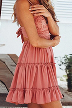Cute Casual Mini Dresses Outfit Ideas for Summer 2021 for Teens Girls - Tie Up Keyhole Ruffle Short Dress in White, Black, Coral, Yellow - mini vestidos de verano lindos ideas de vestimenta para adolescentes - www.GlamantiBeauty.com #dresses