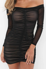 Hot Baddie Clubbing Party Dresses for Summer 2021 - Tight Black Mesh Mini Dress Rutched in Black or White - vestido de fiesta - www.GlamantiBeauty.com
