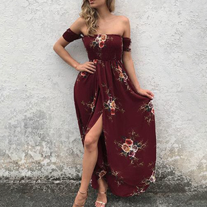 Boho Fashion Summer Beach Outfit Ideas for Women - Casual Vintage Flower Floral Print Off the Shoulder Maxi Long Drape Dress - www.GlamantiBeauty.com #dresses #outfits
