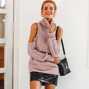 Popular Classy Fall School Outfit Ideas for Women for Teen Girls  High Fashion Model Clothes Col Shoulder Cable Knit Oversize Pullover Sweater  -  Ideas elegantes del traje para las mujeres - www.GlamantiBeauty.com