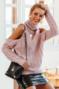 Popular Classy School Outfit Ideas for Women for Teen Girls  High Fashion Model Clothes Col Shoulder Cable Knit Oversize Pullover Sweater  -  Ideas elegantes del traje para las mujeres - www.GlamantiBeauty.com