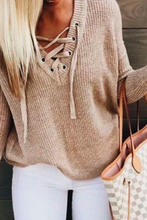Cute Casual Spring Outfit Ideas for Teen Girls for School - Lace Up Criss Cross Knitted Pullover Sweater with Jeans -  Ideas lindas del equipo de primavera casual para niñas adolescentes para la escuela - www.GlamantiBeauty.com