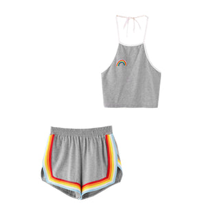 Cute Summer Outfits for Teen Girls Casual Girly Rainbow Beach Halter Top with High Waisted Shorts Matching Set - www.GlamantiBeauty.com #summerstyle #outfits