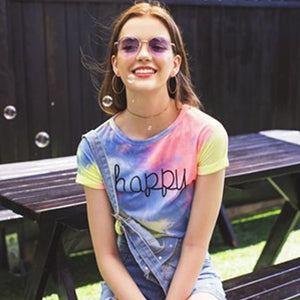 Fun Summer Outfit Ideas for School for Teen Girls for Women 2018 Cute Casual Happy Tie Dye Colorful Rainbow Cropped Top T-Shirt Tee - www.GlamantiBeauty.com #summerstyle #outfitFun Summer Outfit Ideas for School for Teen Girls for Women 2018 Cute Casual Happy Tie Dye Colorful Rainbow Cropped Top T-Shirt Tee - www.GlamantiBeauty.com #summerstyle #outfit