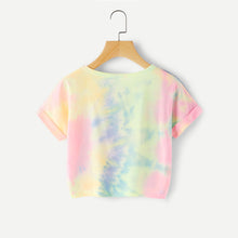 Fun Summer Outfit Ideas for School for Teen Girls for Women 2018 Cute Casual Happy Tie Dye Colorful Rainbow Cropped Top T-Shirt Tee - www.GlamantiBeauty.com #summerstyle #outfit