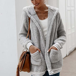 Cute Casual Winter Outfit Ideas for Women - Cozy Soft Sherpa Pink Sweater Jacket - www.GlamantiBeauty.com