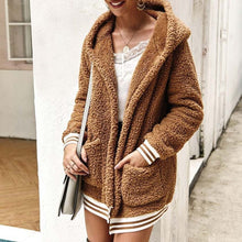 Cute Casual Winter Outfit Ideas for Women - Cozy Soft Sherpa Camel Sweater Jacket - www.GlamantiBeauty.com