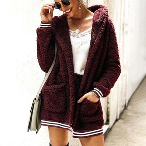 Cute Casual Winter Outfit Ideas for Women - Cozy Soft Sherpa Burgundy Sweater Jacket - www.GlamantiBeauty.com