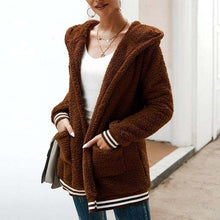 Cute Casual Winter Outfit Ideas for Women - Cozy Soft Sherpa Brown Sweater Jacket - www.GlamantiBeauty.com