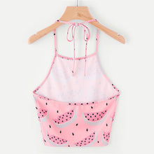 Cute Summer Crop Top Outfit Ideas for Teen Girls for School for Beach 2018 - Pink Watermelon Halter Neck Crop Top Tank Spaghetti Straps - ideas lindas del equipo de la playa del verano para adolescencias - www.GlamantiBeauty.com #summerstyle #outfits
