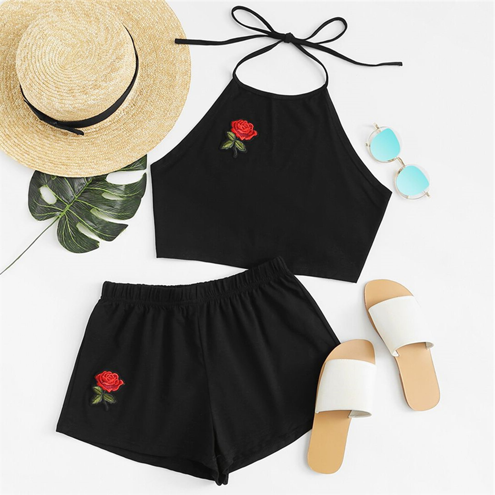 Bethany Rose Embroidered Matching Set Tie Up Halter Crop -2273