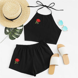 Cute Summer Outfits for Teen Girls - Casual Girly Rose Embroidered Beach Halter Top with High Waisted Shorts Matching Set in Black - www.GlamantiBeauty.com #summerstyle #outfits