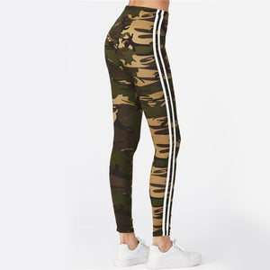 Cute Summer Spring Workout Outfit Ideas for Women - Hot Baddie Printed Camo Camouflage Leggings Double Striped Tight Pants - www.GlamantiBeauty.com #leggings