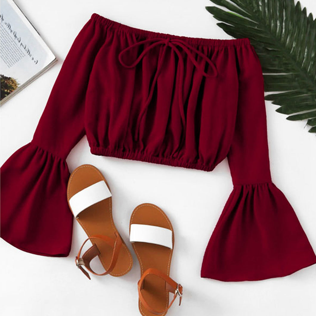 Carissa Tie Up Off the Shoulder Long Bell Sleeve Crop Top in Burgundy