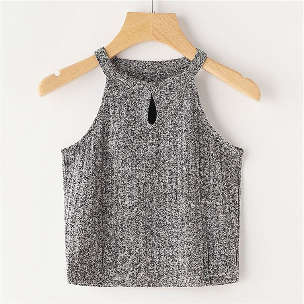Cute Spring Summer Outfit Ideas for Women 2018 - Casual Grey Keyhole Halter Neck Crop Top for Teen Girls for School - ideas de top crop crop spring para mujer - www.GlamantiBeauty.com #outfit