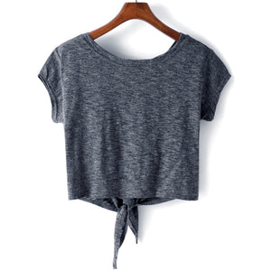 Cute Summer Outfit Ideas for Teen Girls for School or Vacation 2018 - Casual Tie Up Crop Top T-Shirt Tee in Grey Blue - Ideas lindas del equipo del verano para las muchachas adolescentes - www.GlamantiBeauty.com #summerstyle #outfits