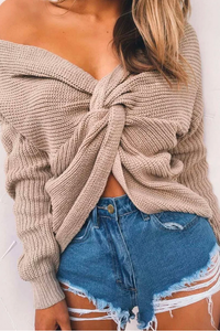 Cute Casual Fall Outfit Ideas for Women Brown Knot Pullover Sweater for Women for Teen Girls - ideas de atuendo para mujeres - www.GlamantiBeauty.com