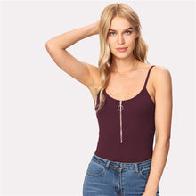 Spring Outfit Ideas for Women with Jeans - Zipper Burgundy Bodysuit Spaghetti Strap - ideas de trajes de primavera para las mujeres - www.GlamantiBeauty.com #outfit #fashion