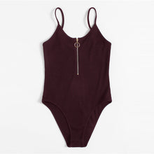 Spring Bodysuit Outfit Ideas for Women - Zipper Burgundy Bodysuit Spaghetti Strap - ideas de trajes de primavera para las mujeres - www.GlamantiBeauty.com #outfit #fashion