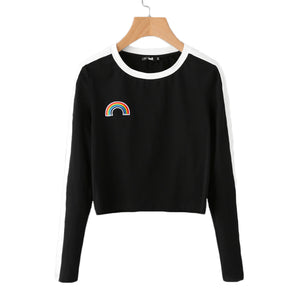 Casual Outfit Ideas for Teen Girls for School Spring 2018 - Rainbow Embroidered Crop Top Cropped Sweatshirt Sweater White Ribbing in Black - Ideas de vestimenta casual para niñas adolescentes para la escuela - www.GlamantiBeauty.com #outfits