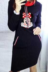 Mickey Minnie Mouse Cute Sweater Hoodie Midi Dress