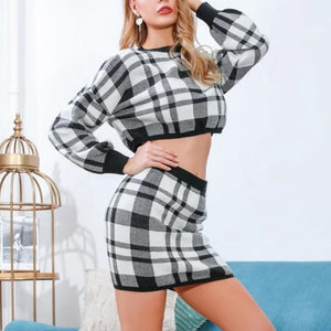 Trending Fall Outfits 2019 for Women - Plaid Two Piece Mini Dress Long Sleeve Sweater Top - ideas de ropa de mujer de otoño - www.GlamantiBeauty.com #outfits