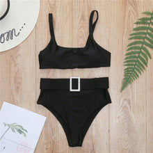 Slimming High Waisted Bikini Jewelled Belted Two Piece Swimwear for Teen Girls for Women - lindo bikini negro - www.GlamantiBeauty.com