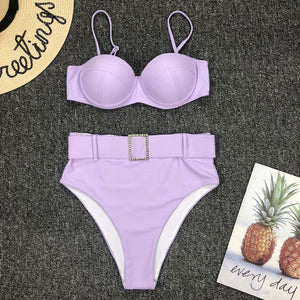 Purple Slimming High Waisted Bikini Jewelled Belted Two Piece Swimwear for Teen Girls for Women - lindo bikini negro - www.GlamantiBeauty.com